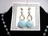 Natural Aquamarine Gemstone Fashion Jewelry Set March Birthstone