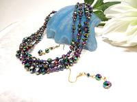 Crystal Fashion Jewelry Set Purple Vitrail Necklace and Earrings