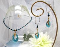 Fashion Jewelry Set Teal and Black Swarovski Crystal Necklace Earrings