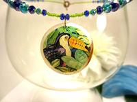 Fashion Jewelry Set Colorful Toucans on Lightweight Shell Pendants