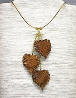 Fashion Jewelry Set Wooden Heart Shaped Leaves Necklace and Earrings