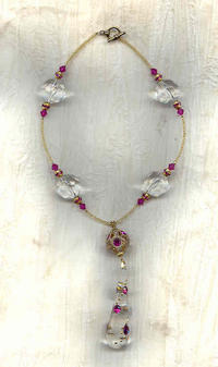 Pendant Necklace Vintage Fuchsia Crystal Studded Lucite
