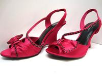 Fuchsia Satiny Wedge Heel Sandals Jet Swarovski Crystals - Size 7-1/2