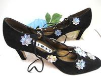 Womens 1920s Look Black Size 7 Suede Shoes Vintage Glass Starbursts