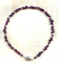 SMALL PET COLLAR: Deep, Rich Red Garnets and Magnetic Clasp