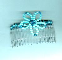 Teal Flower Swarovski Crystals and Glass Pearls Hair Comb