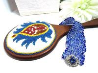 Hand Mirror with Beaded Renaissance Pomegranate Motif
