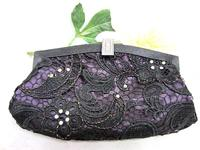 Black Lace Evening Clutch with Crystal and Pearl Embroidery