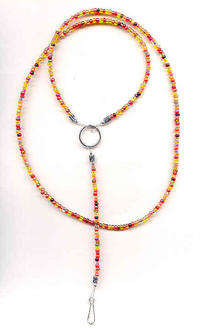 AUTUMN FLAME: Fall Colors Beaded Unisex Lanyard Keyring Necklace
