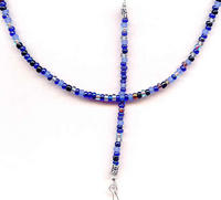 MIDNIGHT: Dark Blue Mix Beaded Unisex Lanyard ID Badge Keys Holder