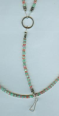 Fruit Salad: Mint, Melon and Red Beaded ID Badge Keys Lanyard Necklace