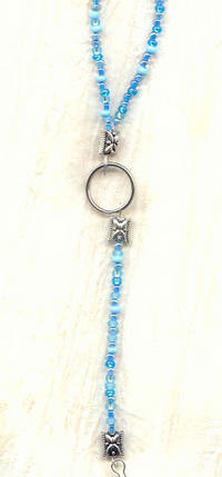 SPRING SKY: Pale Blue Bead Unisex Lanyard Necklace ID Badge Holder Etc
