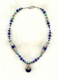 NEPAL: Lapis Lazuli, Turquoise and Sterling Silver Pendant Necklace