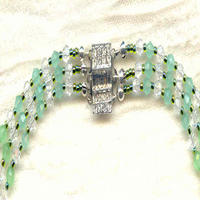 Graduated Jade Green Celestial Crystal Triple-Strand Necklace