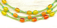 Sunshine Three Strand Necklace: Citrine, Flame and Peridot Glass Beads