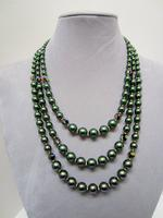 DARK LADY: Iridescent Green 3-Strand Necklace