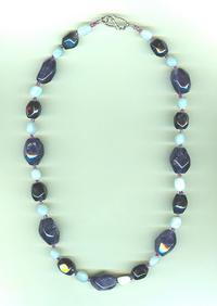 Handbeaded Amethyst and Amazonite Nugget Necklace