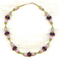 Beaded Floral Necklace Amethyst, Olive Green and Rose Opal
