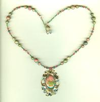 Hand Beaded Unakite and Crystal Pendant Necklace