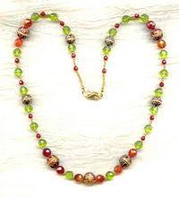 Woodland Sunset Necklace: Peridot Glass, Carnelian and Cloisonne