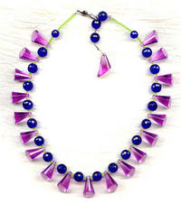 INDUS COLLAR NECKLACE: Vintage Lilac Pendants and Cobalt Crystal Beads