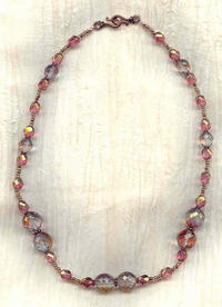 Necklace of Copper Lustred Lavender and Rose Faceted Glass Beads