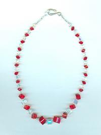 CUBIST REVIVAL: Bright Red And Crystal AB Graduated Cubes Necklace