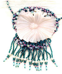 Artist Crafted Pendant Necklace: Vintage Acrylic Flower, Beaded Fringe
