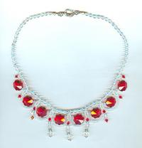 Fringe Necklace with Red Crystal Flowers and Clear Crystal Drops