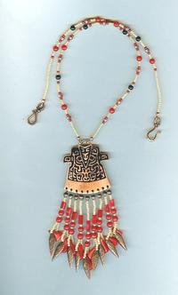 Stylised Copper Kimono Coral Fringed Pendant Necklace