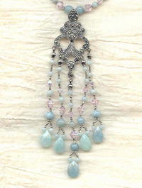 Art Nouveau Sterling,  Marcasite, Amazonite and Lt Rose Glass Pendant