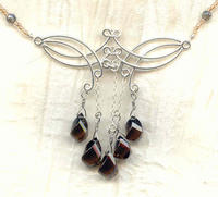 Sparrowhawk Fringed Necklace: Sterling Silver Faceted Smokey Quartz