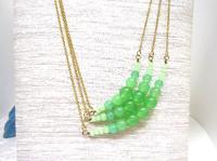 Beaded Necklace 3-Strand Asymmetrical Jade Green Glass and Gold OOAK