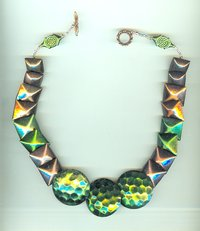 ENAMELED HOLLOW METAL BEAD NECKLACE:  Big and Bold