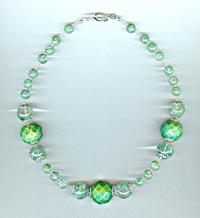Faceted Green Turquoise and Moss Green Glass Necklace