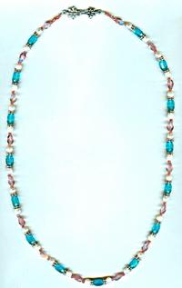Teal and Peach Crystal and White Freshwater Pearl Long Necklace
