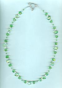 Vintage Peridot Givre Crystal Long Necklace
