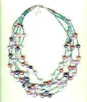 LOVEBIRD MULTISTRAND NECKLACE: Cool-Coloured Glass Pearls