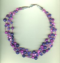 Purple and Fuchsia Multi-Strand, Multi-Stone Torsade