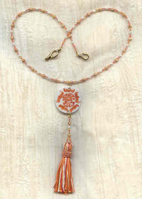 White and Terracotta Asian Theme Beaded Tassel Necklace