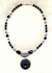 Classic Black Pendant:  Vintage Glass, Gemstone and Sterling Silver