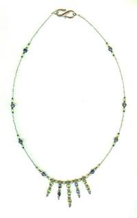 Sterling Silver Peridot and Iolite Handmade Beaded Necklace