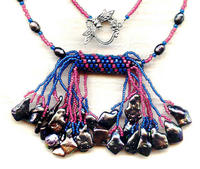 Bright Blue and Fuchsia Double Tassel Necklace with Peacock Pearls