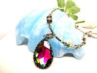 Color Change Swarovski Crystal Teardrop Pendant Beaded Necklace