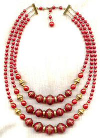 KNOSSOS TRIPLE STRAND NECKLACE:  Vintage Gold Washed Red Beads