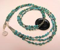 Vintage Glass Button and Turquoise Pebbles 3-Strand Necklace