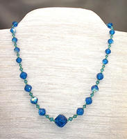 Capri Blue Swarovski Crystal Necklace Rare Vintage Cut