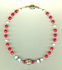 Vintage White Swarovski Crystal and Opaque Red Faceted Glass Choker
