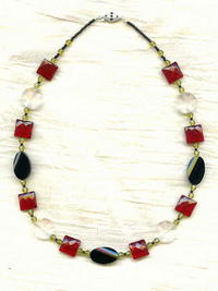 GEOMETRY NECKLACE: Black Onyx, Clear Quartz, Red Glass Basic Shapes