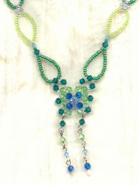 Crystal and Seed Bead Needlewoven Butterfly Necklace